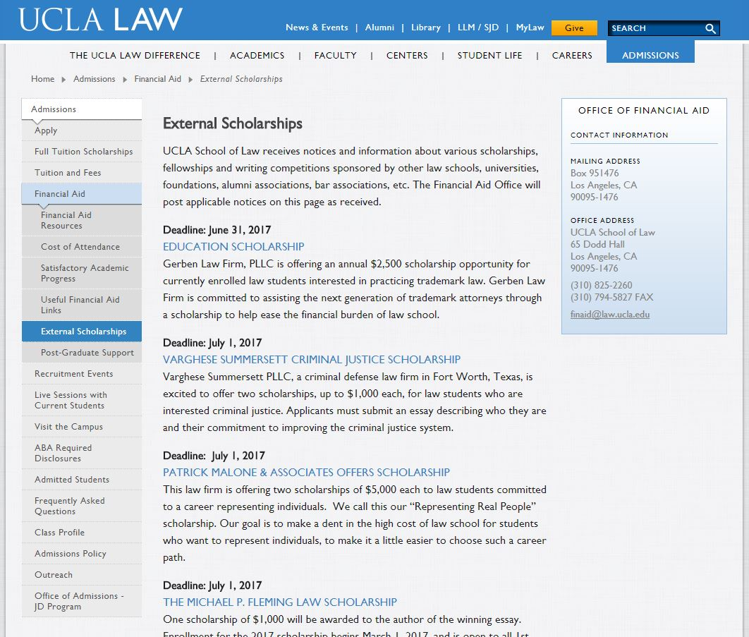 Law Firm Scholarships on UCLA Website