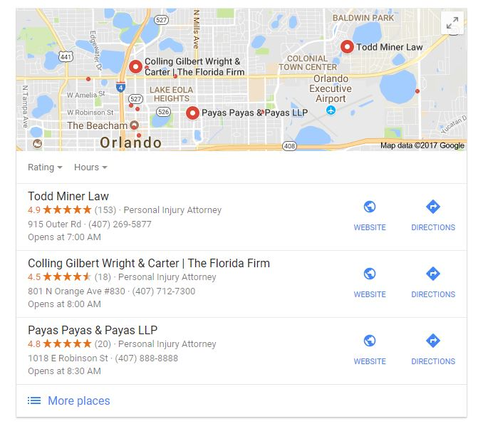 Map Pack of Law Firms in Google
