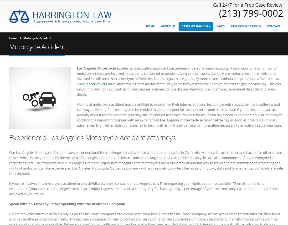 Example of a Law Firm Service Page